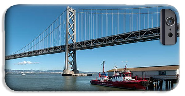 Bay Bridge iPhone Cases - Bridge Across A Bay, Bay Bridge, San iPhone Case by Panoramic Images