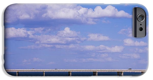 Bay Bridge iPhone Cases - Bridge Across A Bay, Sunshine Skyway iPhone Case by Panoramic Images