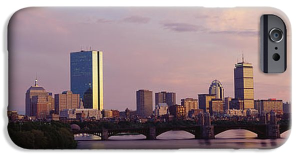 Charles River iPhone Cases - Bridge Across A River With City iPhone Case by Panoramic Images