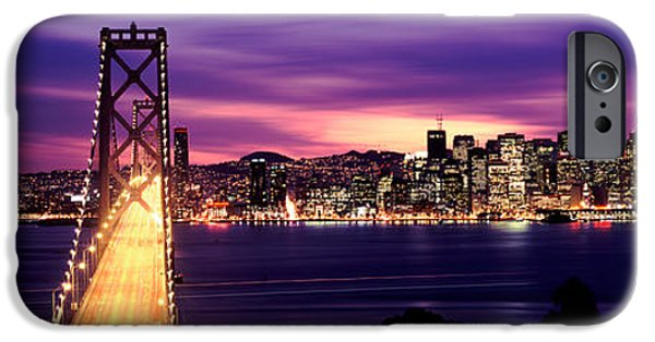 Built Structure iPhone Cases - Bridge Lit Up At Dusk, Bay Bridge, San iPhone Case by Panoramic Images