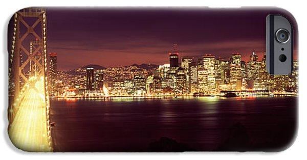 Bay Bridge iPhone Cases - Bridge Lit Up At Night, Bay Bridge, San iPhone Case by Panoramic Images