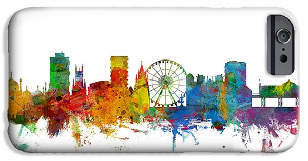Britain iPhone Cases - Brighton England Skyline iPhone Case by Michael Tompsett