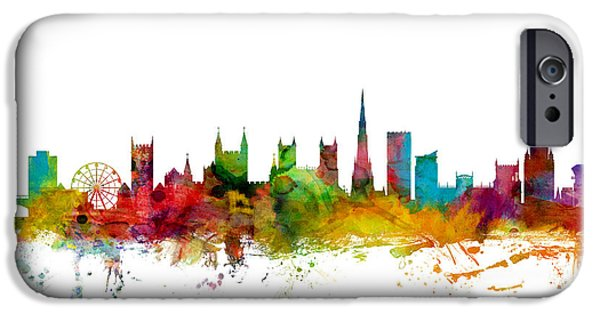 Britain iPhone Cases - Bristol England Skyline iPhone Case by Michael Tompsett