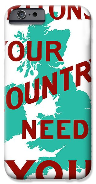 Wwi iPhone Cases - Britons Your Country Needs You iPhone Case by War Is Hell Store