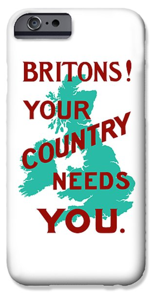 Wwi Mixed Media iPhone Cases - Britons Your Country Needs You iPhone Case by War Is Hell Store