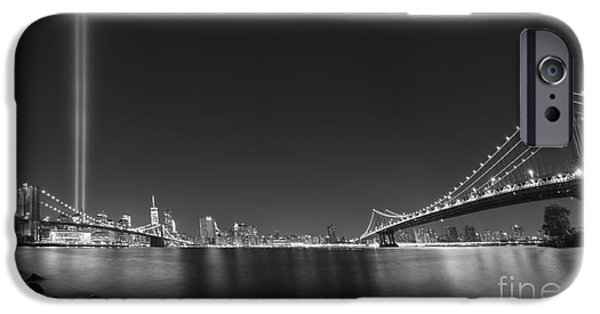 Twin Towers Nyc iPhone Cases - Brooklyn Bridge and Manhattan Bridge Pano iPhone Case by Michael Ver Sprill