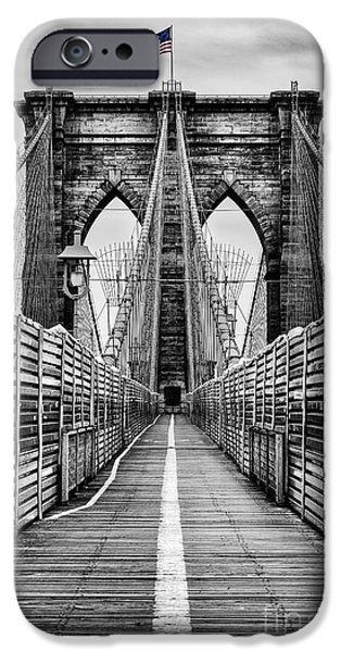 Selective Color iPhone Cases - Brooklyn Bridge iPhone Case by John Farnan