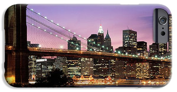 Connection iPhone Cases - Brooklyn Bridge New York Ny Usa iPhone Case by Panoramic Images