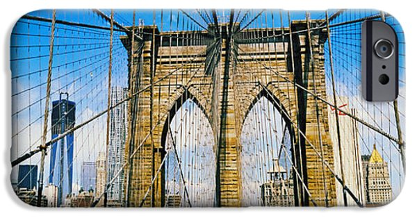 Freedom iPhone Cases - Brooklyn Bridge With Freedom Tower, New iPhone Case by Panoramic Images