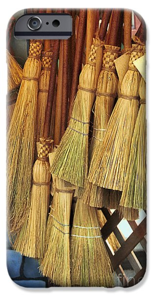 Wicker iPhone Cases - Brooms For Sale iPhone Case by David Smith