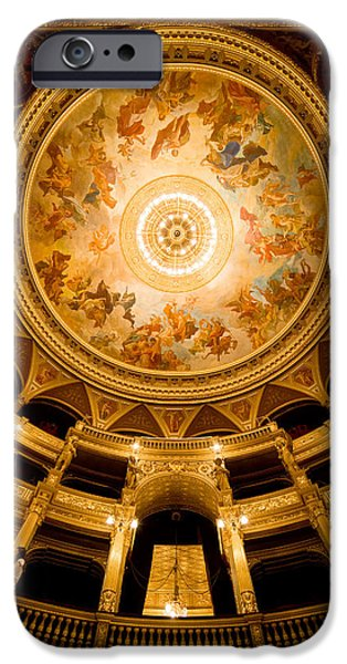 Painted Hall iPhone Cases - Budapest Opera House Auditorium and Ceiling iPhone Case by Artur Bogacki
