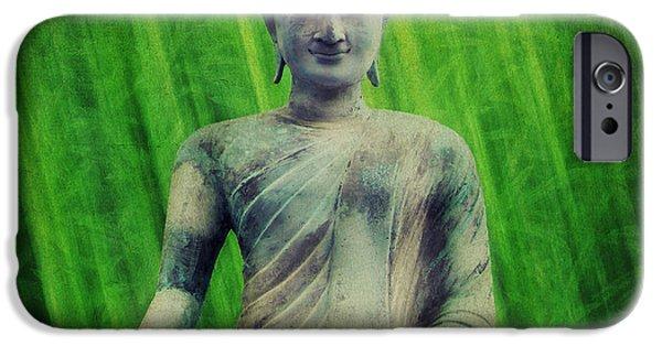 Buddhism Mixed Media iPhone Cases - Buddha iPhone Case by Angela Doelling AD DESIGN Photo and PhotoArt