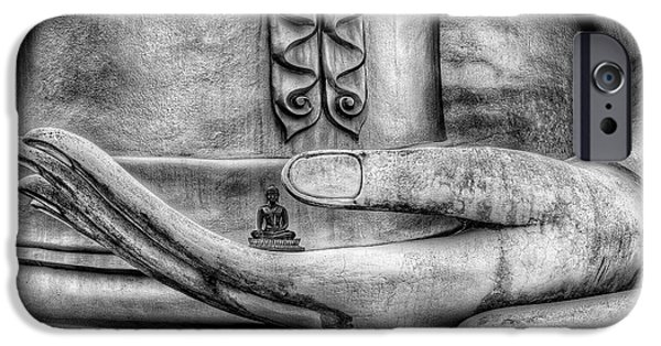 Buddhism Digital iPhone Cases - Buddha Hand iPhone Case by Adrian Evans
