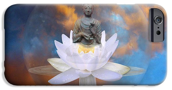 Lumiere iPhone Cases - Buddha Meditation iPhone Case by Gill Piper