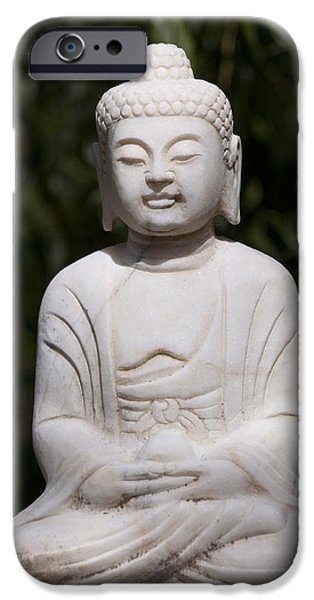 Statue Portrait iPhone Cases - Buddha statue iPhone Case by Tilen Hrovatic