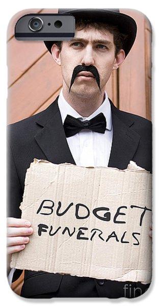Advertise iPhone Cases - Budget Funerals iPhone Case by Ryan Jorgensen