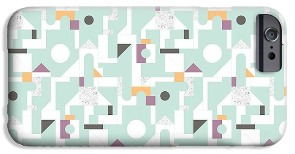 Patterns Paintings iPhone Cases - Building Blocks iPhone Case by Laurence Lavallee