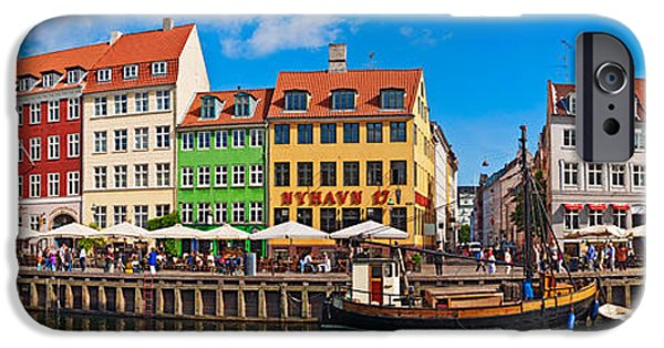 Sailboats In Harbor iPhone Cases - Buildings Along A Canal With Boats iPhone Case by Panoramic Images