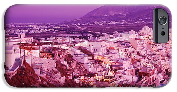 Pastel iPhone Cases - Buildings, Houses, Fira, Santorini iPhone Case by Panoramic Images