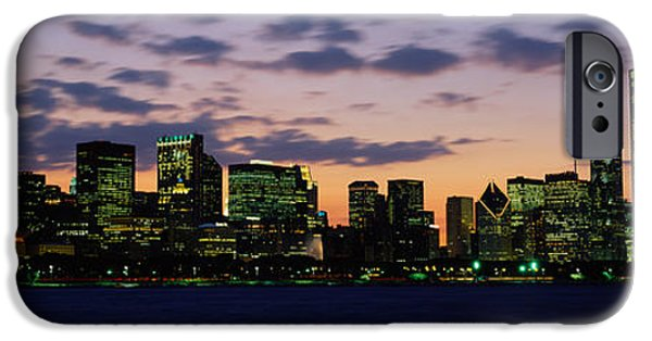Chicago iPhone Cases - Buildings In A City At Dusk, Chicago iPhone Case by Panoramic Images