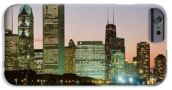 Finance iPhone Cases - Buildings Lit Up At Night, Chicago iPhone Case by Panoramic Images