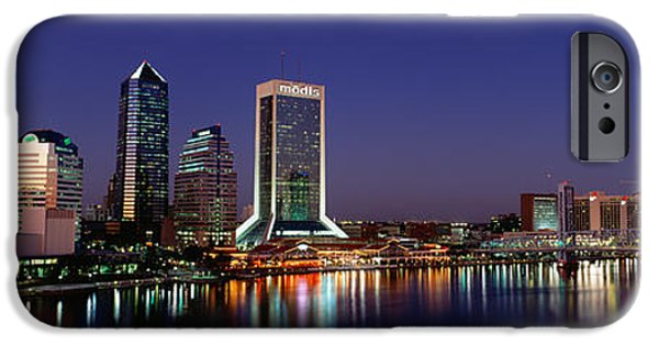 St. Johns River iPhone Cases - Buildings Lit Up At Night iPhone Case by Panoramic Images