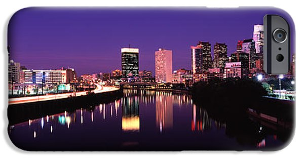 Schuylkill iPhone Cases - Buildings Lit Up At The Waterfront iPhone Case by Panoramic Images
