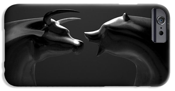 Finance iPhone Cases - Bull And Bear Market Trend Bronze Castings iPhone Case by Allan Swart