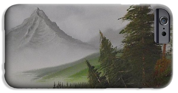 Bob Ross Paintings iPhone Cases - Bull Lake iPhone Case by Caleb Mitchell