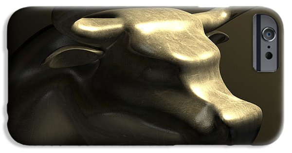 Business Digital Art iPhone Cases - Bull Market Bronze Casting Contrast iPhone Case by Allan Swart