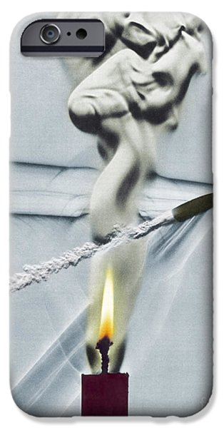 High Speed Photography iPhone Cases - Bullet Shot Through Candle Flame iPhone Case by Science Source