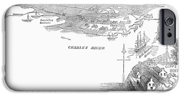 Charles River iPhone Cases - Bunker Hill, 1775 iPhone Case by Granger