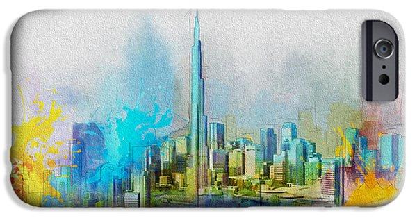 Corporate Art iPhone Cases - Burj Khalifa Skyline  iPhone Case by Corporate Art Task Force