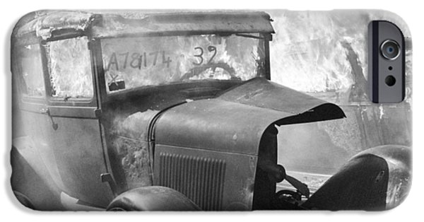 Rust iPhone Cases - Burning Car Circa 1942  iPhone Case by Aged Pixel