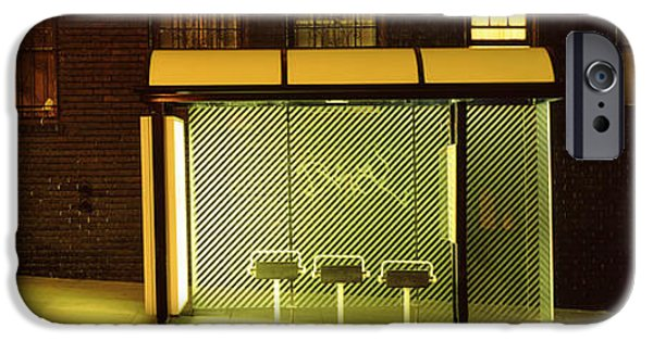 Absence iPhone Cases - Bus Stop At Night, San Francisco iPhone Case by Panoramic Images