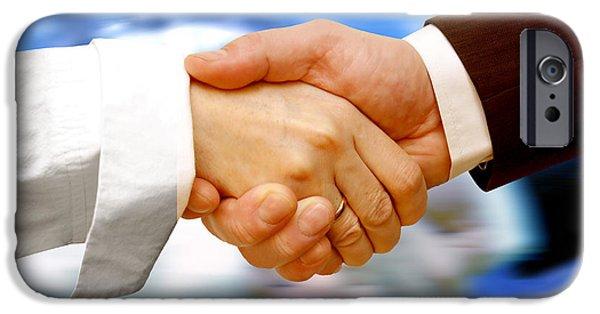 Negotiating iPhone Cases - Business handshake iPhone Case by Michal Bednarek