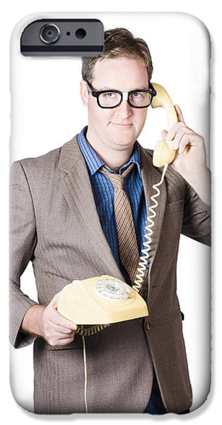 1950s Portraits iPhone Cases - Businessman talking on retro telephone iPhone Case by Ryan Jorgensen