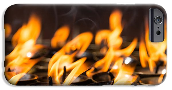 Tibetan Buddhism iPhone Cases - Butter lamps iPhone Case by Dutourdumonde Photography