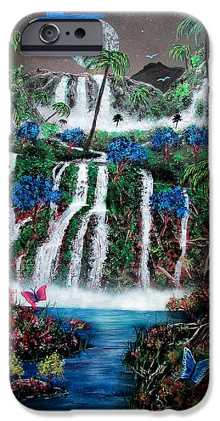 Sea Moon Full Moon Paintings iPhone Cases - Tropical Waterfalls iPhone Case by Michael Rucker