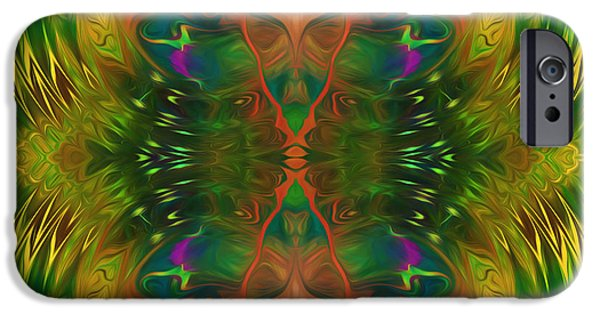 Asymmetrical Mixed Media iPhone Cases - Butterfly Matrix iPhone Case by Georgiana Romanovna