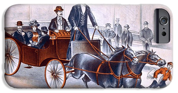 Horse And Buggy iPhone Cases - C.a. George Newmann, American Hypnotist iPhone Case by Photo Researchers
