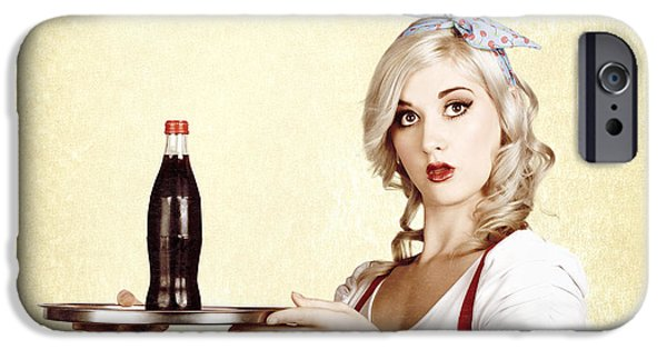 1950s Portraits iPhone Cases - Cafe bistro bar service. Woman with drinks tray iPhone Case by Ryan Jorgensen