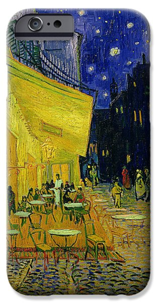 Oil On Canvas iPhone Cases - Cafe Terrace Arles iPhone Case by Vincent van Gogh