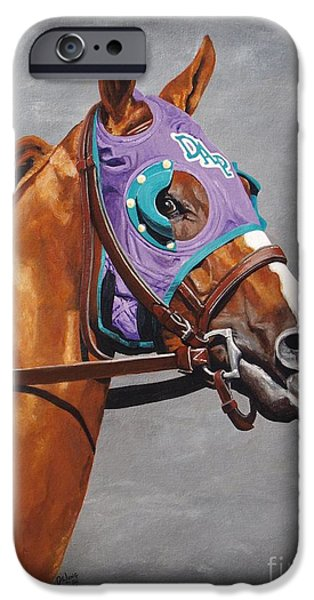 Horse Racing iPhone Cases - California Chrome iPhone Case by Pat DeLong