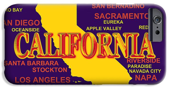 Stockton iPhone Cases - California State Pride Map Silhouette  iPhone Case by Keith Webber Jr