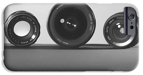 Three Sizes iPhone Cases - Camera Lenses iPhone Case by Evan Wise