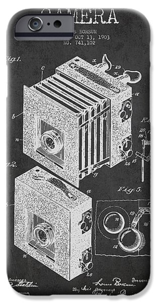 Film Camera iPhone Cases - Camera Patent Drawing from 1903 iPhone Case by Aged Pixel