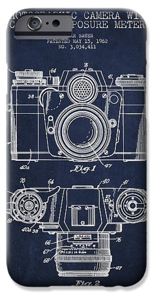 Film Camera iPhone Cases - Camera Patent Drawing From 1962 iPhone Case by Aged Pixel
