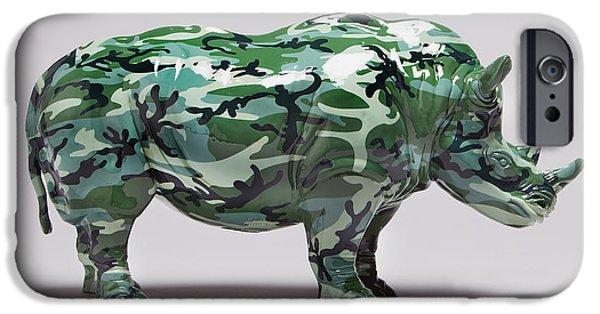 Wild Animals Sculptures iPhone Cases - Camo Rhino iPhone Case by Victor Douieb