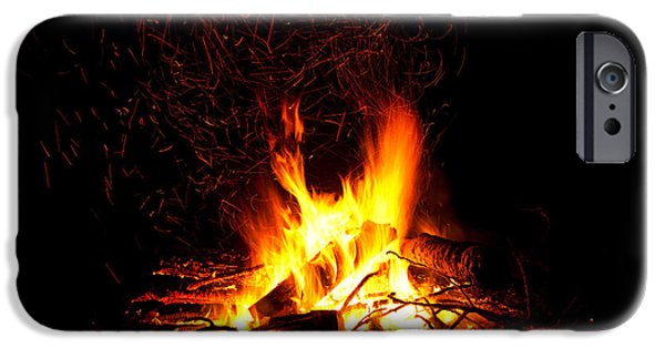 Fury iPhone Cases - Campfire as a symbol of warmth and life on black iPhone Case by Stephan Pietzko